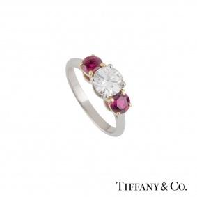 Tiffany & Co. Three Stone Diamond and Ruby Platinum Ring 1.26ct, G/VVS2